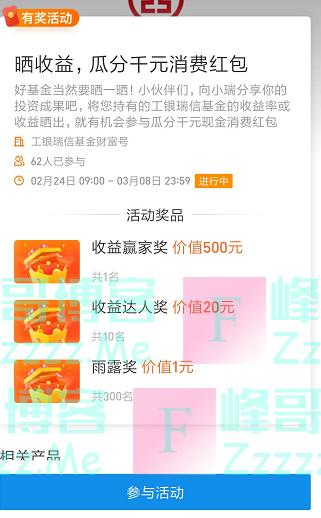 工银瑞信基金晒收益瓜分千元消费红包(截止3月8日)