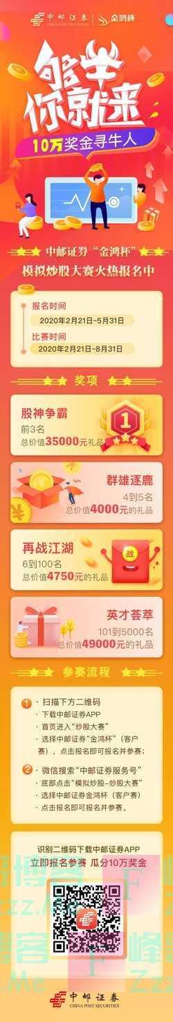 """中邮证券服务号""""金鸿杯""""模拟炒股大赛(8月31日截止)"""