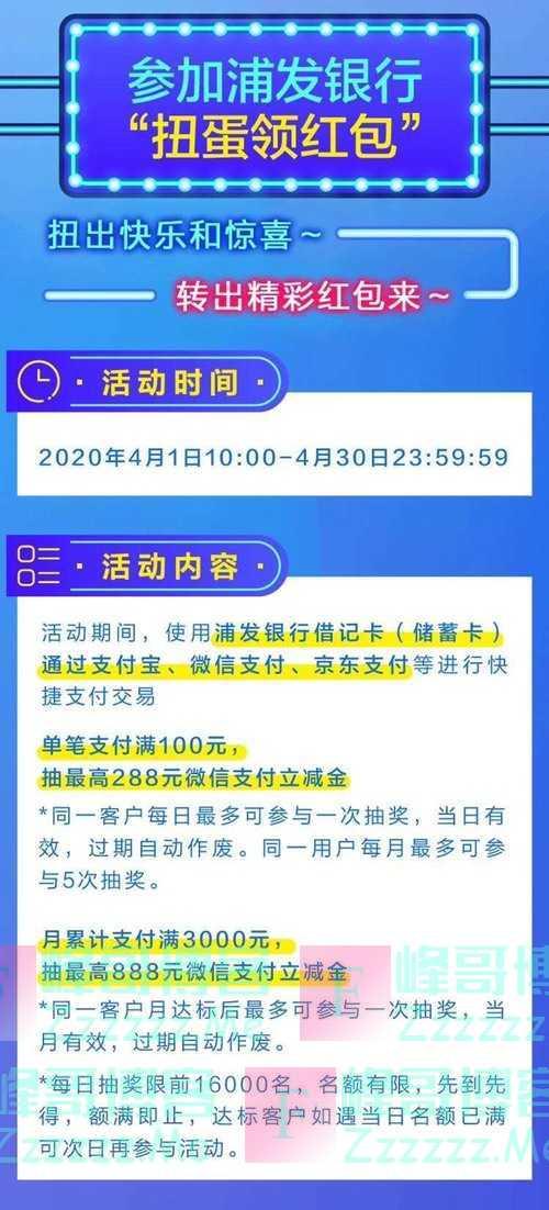 浦发银行扭蛋领红包 最高888元(4月30日截止)