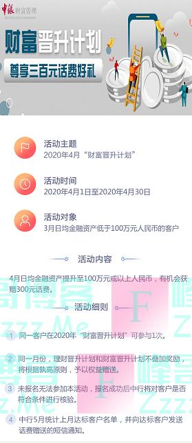 中国银行4月财富晋升计划(截止4月30日)