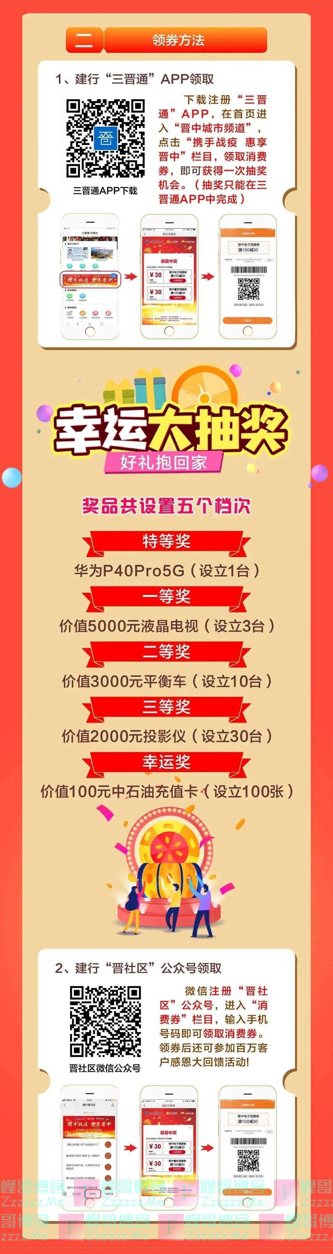 建行晋社区亿元领消费券抽好礼(截止5月31日)
