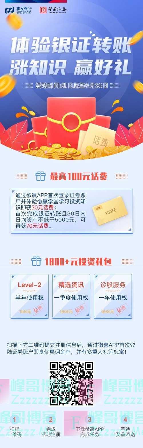 浦发银行体验银证转账 涨知识 赢好礼(6月30日截止)