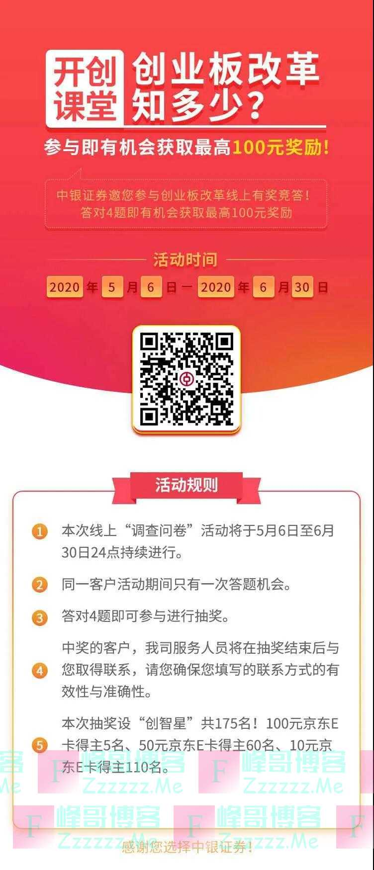 中银证券创业板改革有奖竞答(截止6月30日)