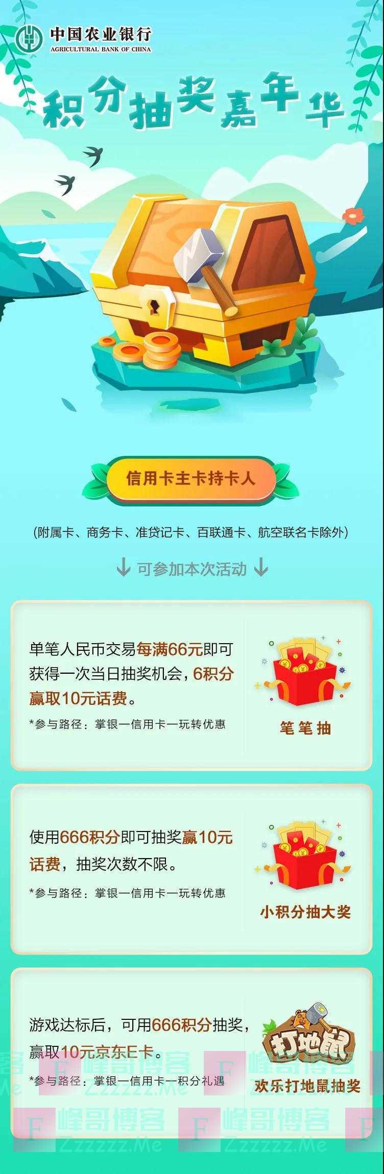 农业银行xing/用卡积分抽奖嘉年华,三重好礼抽不停(截止不详)