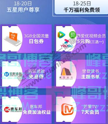中国联通五星用户尊享好礼(截止5月18日)