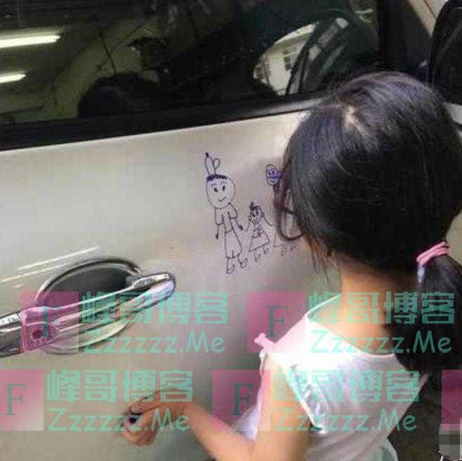 熊孩子涂鸦宝马,车主看到却喜极而泣,称这辈子都不擦掉