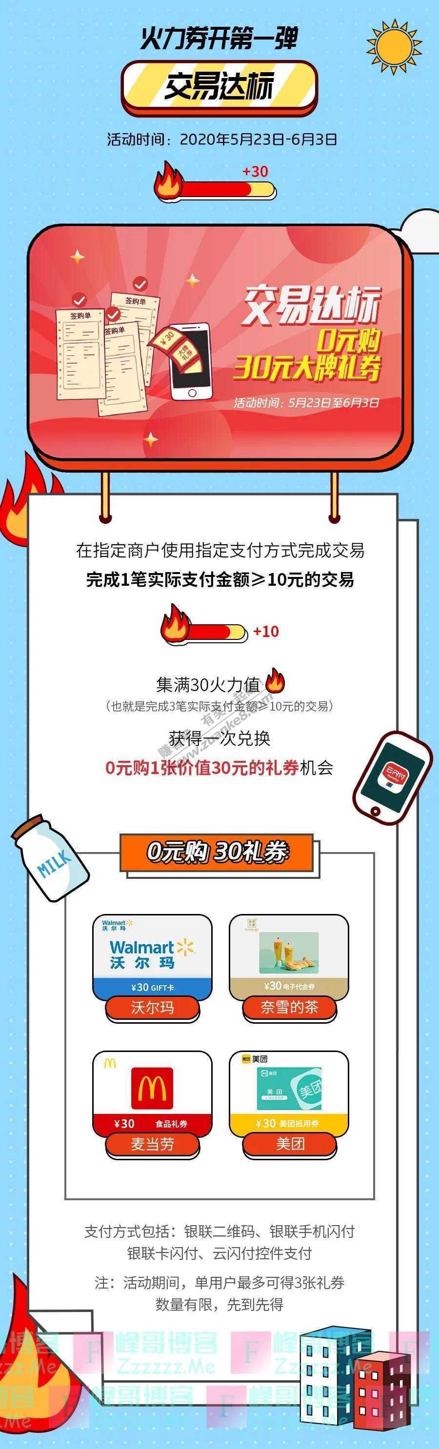 中国银联别太辛苦自己,云闪付放券宠你(截止6月3日)