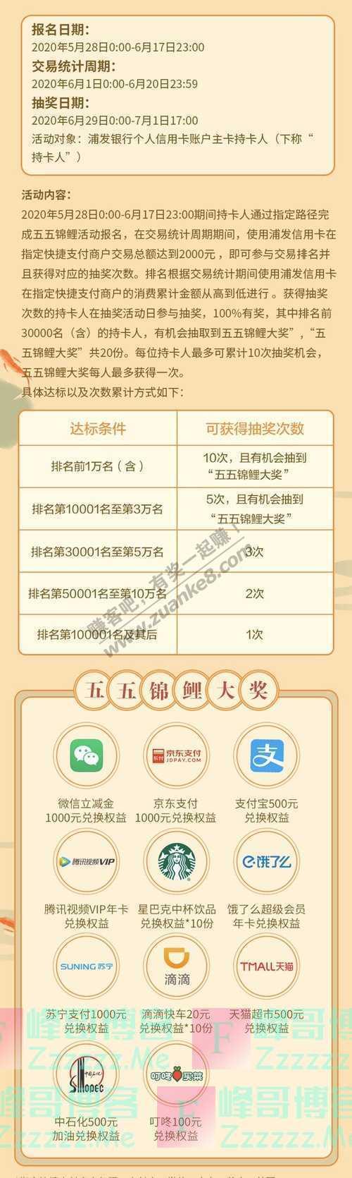 浦发银行xing/用卡五五锦鲤节,赢价值5518元锦鲤大奖!(7月1日截止)