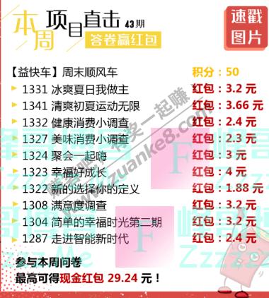 益起答益起赚丨本周红包最高29.24元(截止不详)