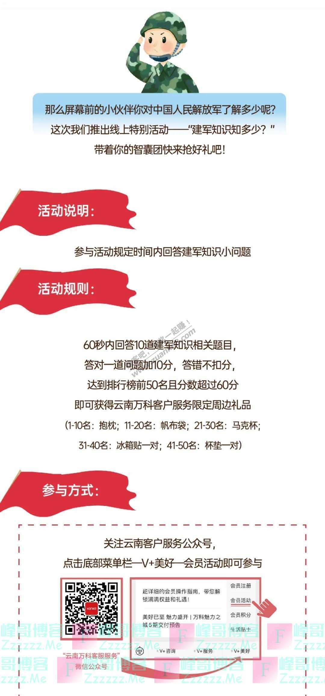 云南万科客户服务建军节特辑|你对解放军了解多少呢(截止8月6日)