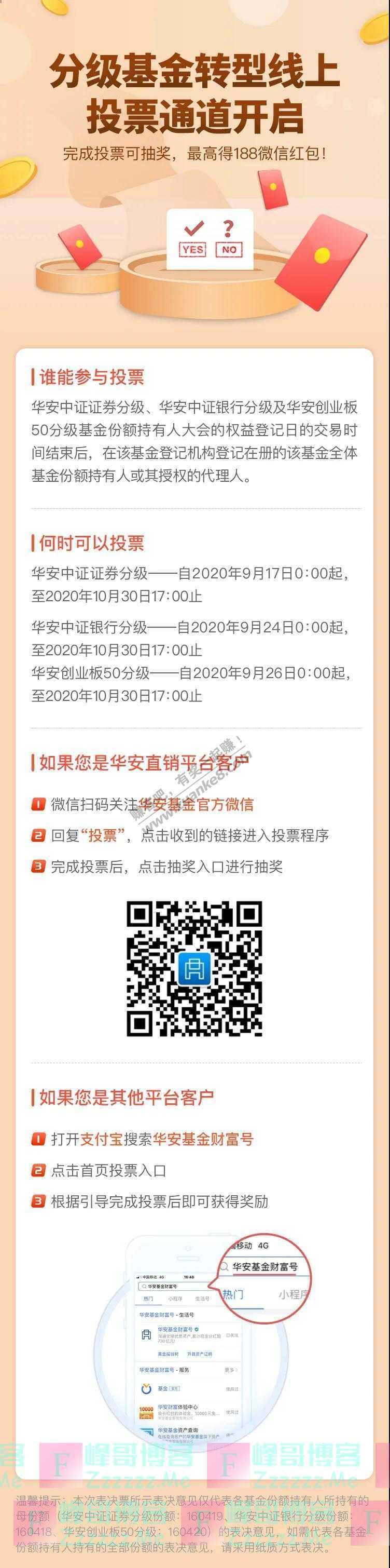 华安基金来投票,最高赢188微信红包!(截止10月30日)