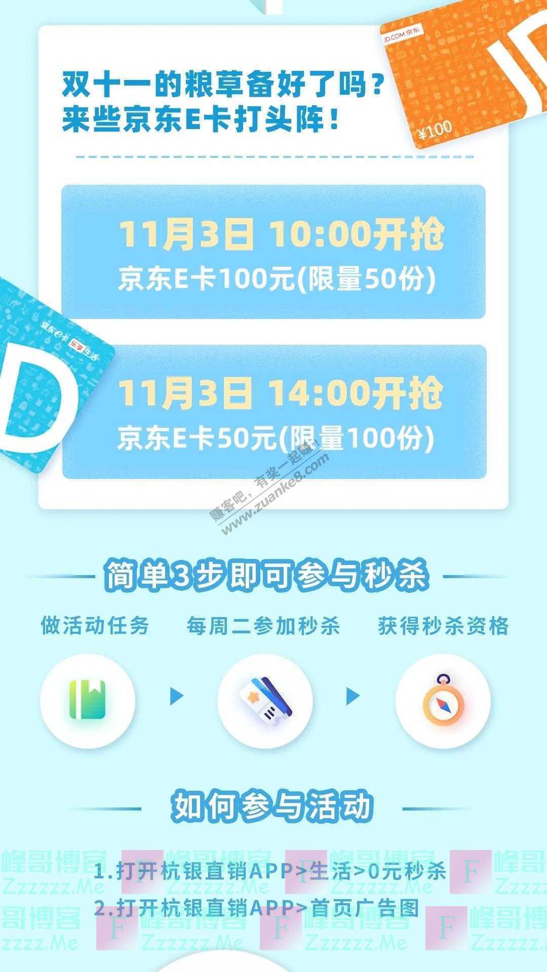 杭州银行预热双十一 京东E卡免费送(截止11月3日)