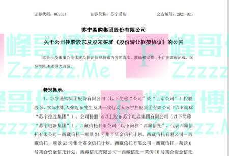 张近东转让苏宁易购23%股权,深圳国资148亿接盘