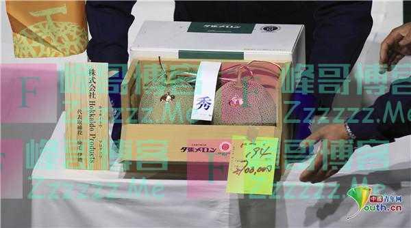 日本两个蜜瓜拍出16万高价 同比上涨22倍