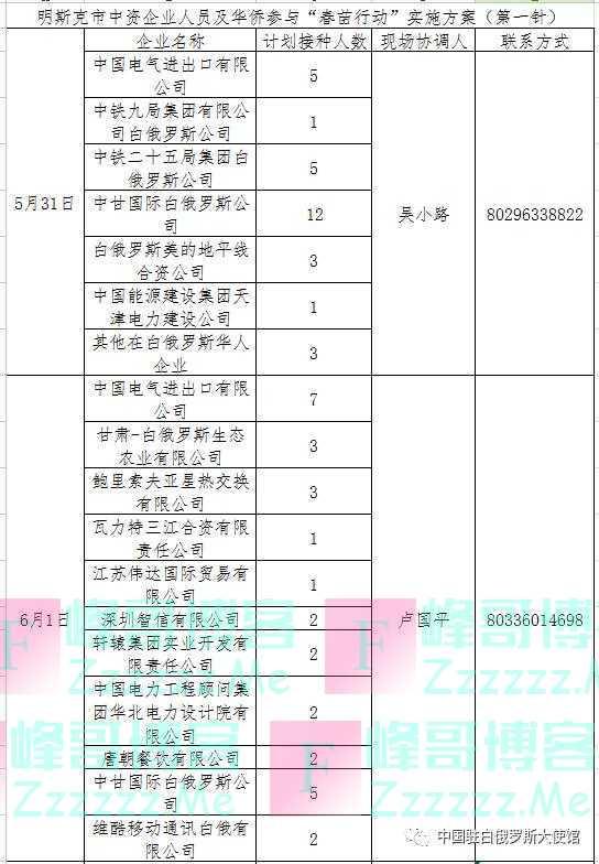 """中国驻白俄罗斯大使馆发布补充通知 保障在白公民顺利参与""""春苗行动"""""""