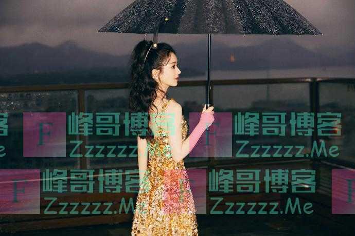 赵丽颖鎏金lomo风大片 雨中撑伞复古优雅
