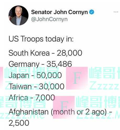 """美参议员推特爆""""3万美军驻台"""",国民党官推""""上门""""反驳:美军1979年就走光了!"""