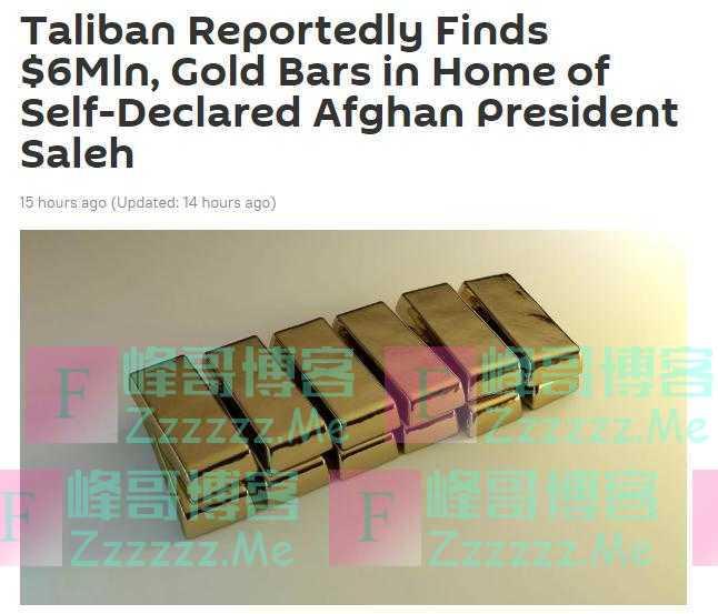 阿富汗塔利班称前副总统萨利赫家中发现600万美元和金砖