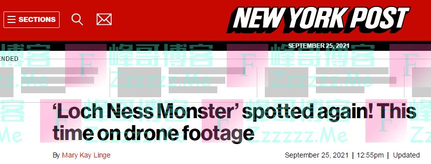 """美媒:再次发现""""尼斯湖水怪""""!这次是在无人机镜头里"""