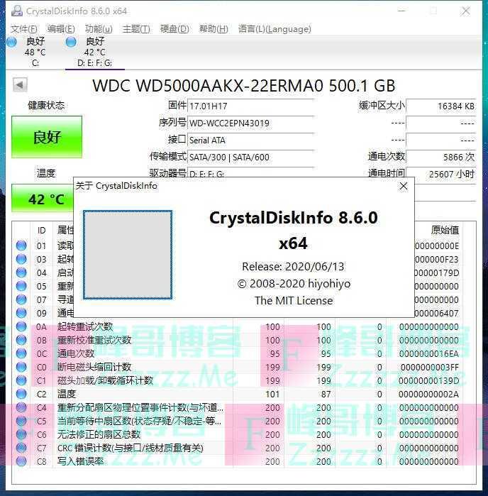 CrystalDiskInfo电脑硬盘检测工具V8.6.0 最新中文汉化免安装版下载